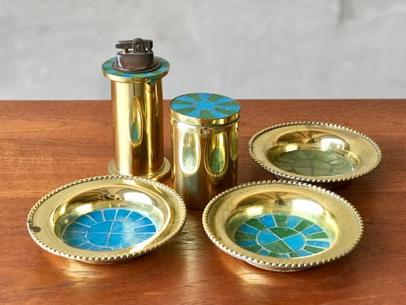 Brass & Tile Smoking Set.