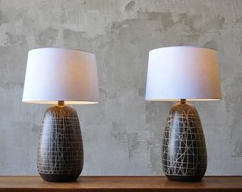 Large Pair of Ceramic Modernist Lamps