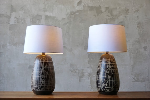 Large Pair of Ceramic Modernist Lamps