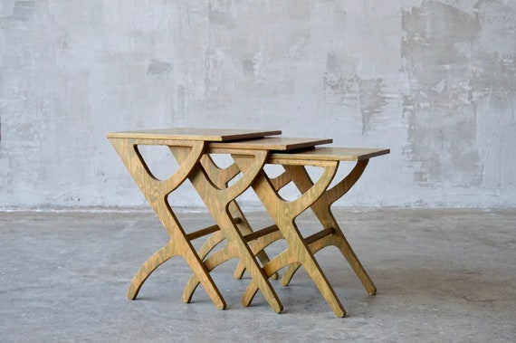 Vintage Plywood Nesting Tables