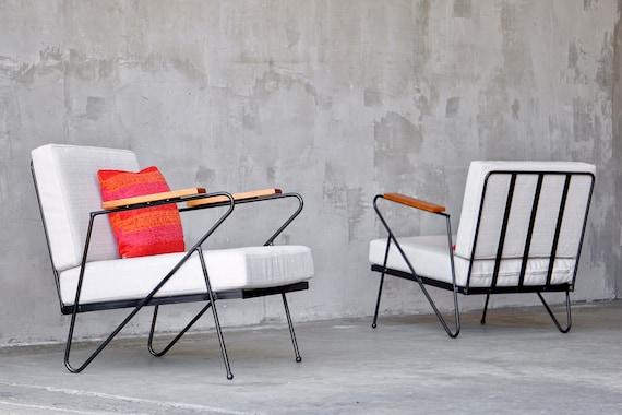 Iron Modernist Lounge Chairs