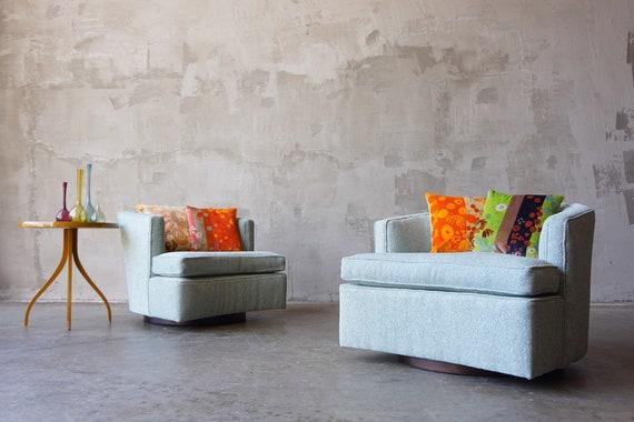 Harvey Probber Swivel Chairs with Jack Lenor Larsen Pillows