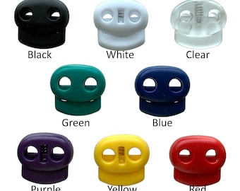 Double Hole Plastic Cord Locks End Spring Stop Toggle Stoppers Multi-Colour 20 PCS, Yellow