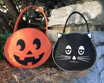 Halloween PDF Treat Bags, TWO Patterns,  Kitty and Pumpkin Treat Bag, Halloween Trick or Treat ,Easy pattern, PDF pattern, Halloween Crafts