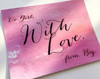 With Love Valentine Note Card