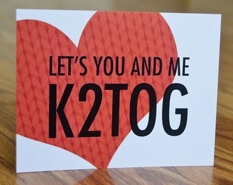 Let's You & Me K2Tog Note Card