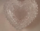 Glass heart shaped trinket box