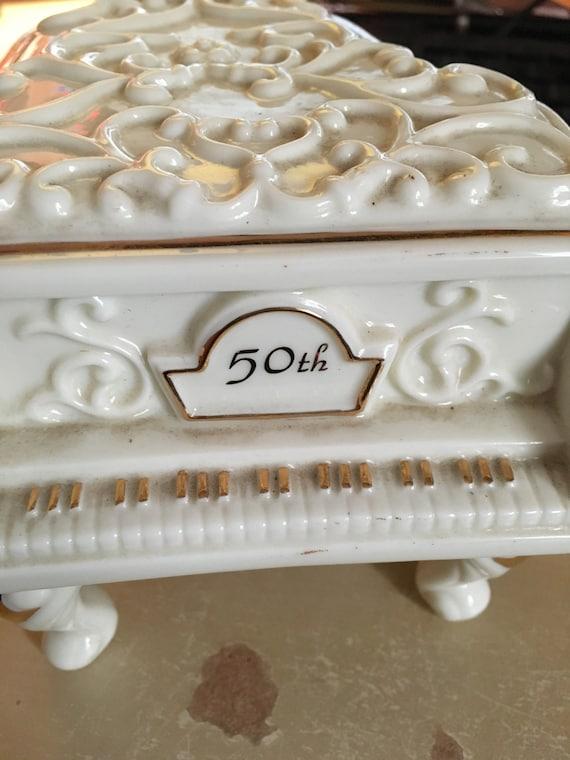 50e Verjaardag Keramische Piano Muziekdoos Verjaardag Wals Etsy
