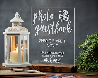 Wedding planning - tips - photo guest book - snap it- shake it - sign it -This sign is the perfect compliment to your wedding photo guestbook! Let your guests know what to do with their instant photos so you always remember who came to celebrate your love. -  richdesignco