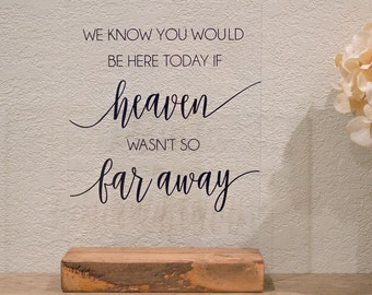 We Know you Would be Here Today, If Heaven Wasn't so Far Away - Wedding Memorial Sign -Remembrance Table Sign -In Loving Memory Wedding Sign