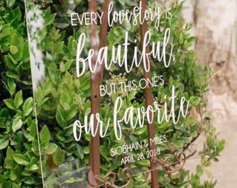 Every Love Story is Beautiful Sign - Wedding Sign - Large Wedding Sign - Wedding Welcome Sign - Acrylic Wedding Welcome Sign - Acrylic Sign