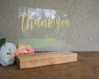Thank You Sign for Wedding Reception - Thank You Sign - Wedding Thank You Sign - Acrylic Thank You Sign - Thank You Sign for Wedding