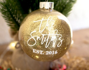 Personalized Newlywed Ornament - Just Married Christmas Ornament - Just Married Christmas Gift - Personalized Married Christmas Ornament