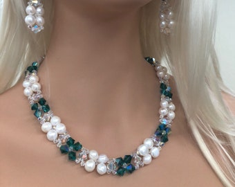 Pearls and Teal Swarovski Crystals
