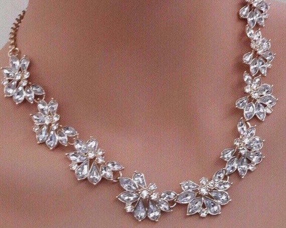 dainty crystal necklace, crystal statement necklac