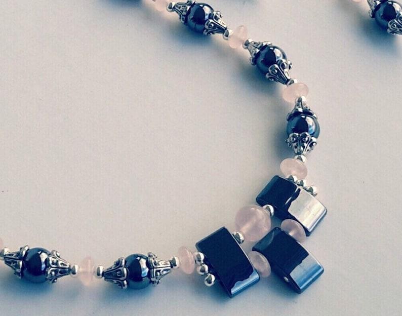 rose quartz crystal necklace rose quartz jewelry set rose quartz silver necklace statement gemstone necklace rose quartz bead necklace
