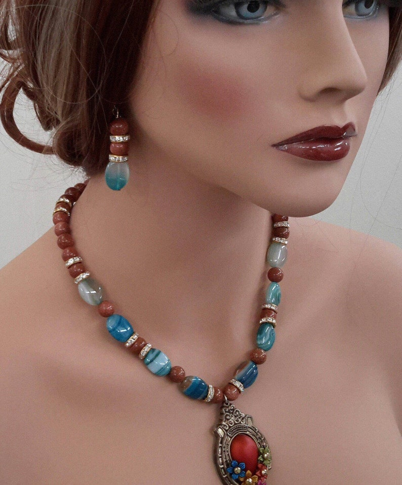 statement gemstone necklace goldstone jewelry crystal statement necklace blue lace agate necklace blue chalcedony necklace