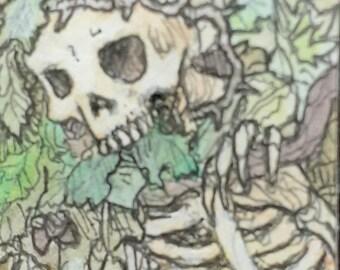Death Amongst the Living - original art by Timothy Renner - miniature - paranormal - skull - skeleton