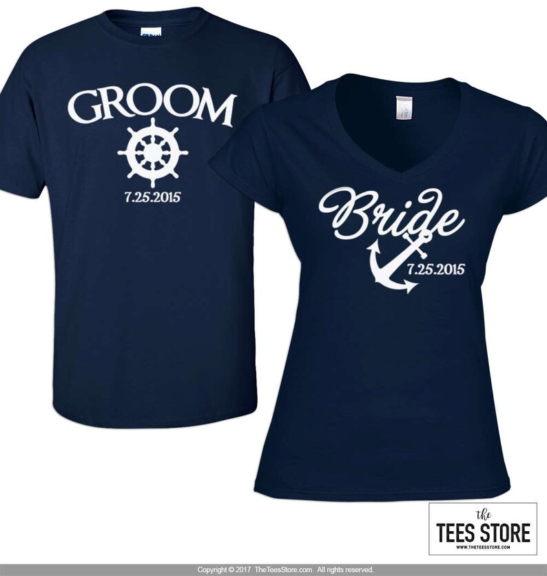278f281917f1e Bride and Groom Custom Shirts, Nautical Theme Wedding Shirts - 238