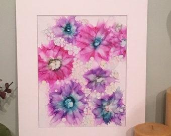Alcohol Ink Art with 11x14 matt, Abstract Art, Fluid Art,  original one of a kind, purple pink flowers