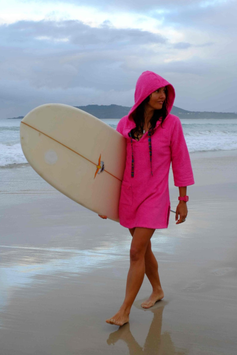 Surf poncho changing robe Ladies Hooded towel dress Pink  f1c678dce