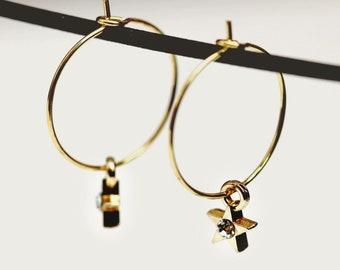 Gold Star Hoop Earrings, Celestial Star Hoops, Bibijoux Modern Minimal Jewelry, Gold Hoop Charm Jewelry, Minimalist Jewelry, Modern Hoops