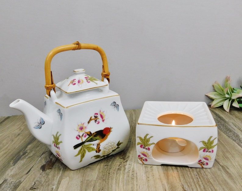Japanese Teapot with Warmer Stand-Asian Flowers & Birds w/Rattan  Handle-Chinese Garden by Shafford