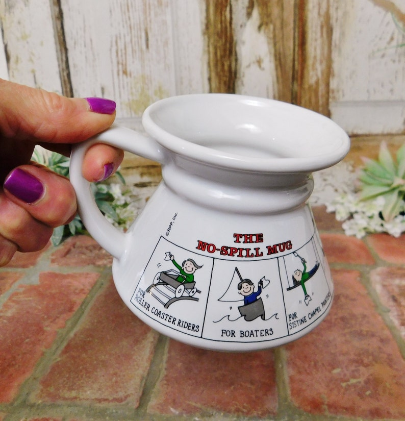 e4316cd40c8 Vintage No Spill Mug-Wide Bottom Travel Mug-No Tip Mug by | Etsy