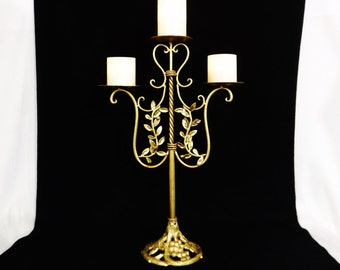 "22"" Candle Holder/Tall Pillar Candle Holder/Gold Hollywood Regency Candelabra/Metal with Antiqued Gold Finish/Tiered 3 Pillar/Vintage"