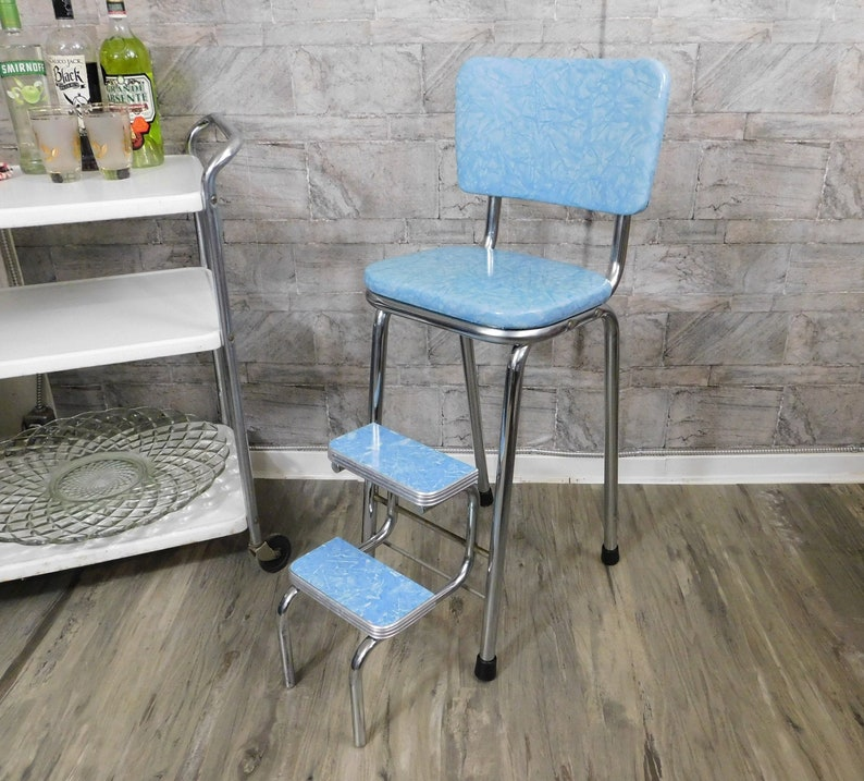 50s Chrome Step Stool Chair-Tall Mid Century Kitchen Step Chair w/Padded  Seat and Back-Original 1950s Vintage