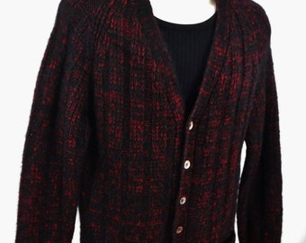 Vintage 50's Cardigan Sweater/Wool Mohair/Black/Red/Wool Cardigan/Wool Sweater/Boyfriend Sweater/Men's/Women's/V-Neck/Italy/1950's/Hipster o8xnu3E7eL