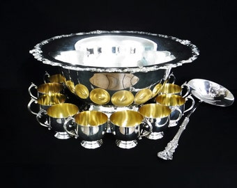 Vintage Punch Bowl Set/Large Silver Plate Punch Bowl 12 Punch Cups & Ladle/Towle Silverplated Hollow Ware