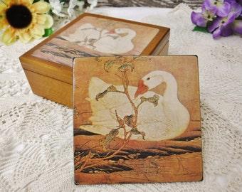 6 Coasters in Wood Box/Wooden Coaster Set /Cottage Decor/Housewarming Gift/80's Bar Decor/Swans/Vintage