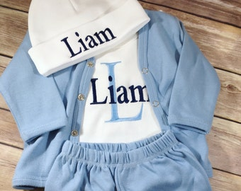 Baby boy coming home outfit boy, monogram baby gift, custom baby bodysuit, personalized hospital outfit baby boy take home outfit, newborn
