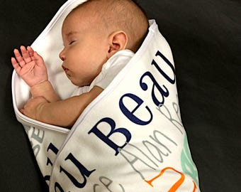 Personalized Baby Name Blanket, Custom baby blanket boy, New Baby Gift, Baby Shower Gift, Personalized Blanket for boy, Receiving Blanket
