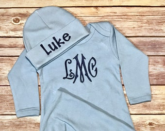 Personalized Gown Baby Boy COMING HOME Outfit Baby Shower Gift Baby Gown Take Home Outfit Newborn Baby Boy Outfit  Monogram Baby Outfit