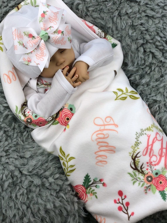 personalized baby blanket monogrammed baby gown and newborn cap Newborn baby coming home outfit baby shower gift bundle