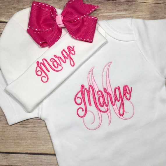 Pink Baby Coming Home Outfit Gown and Hat Newborn Dress with Custom Name Girl or Boy White Personalized Cap Beanie 380