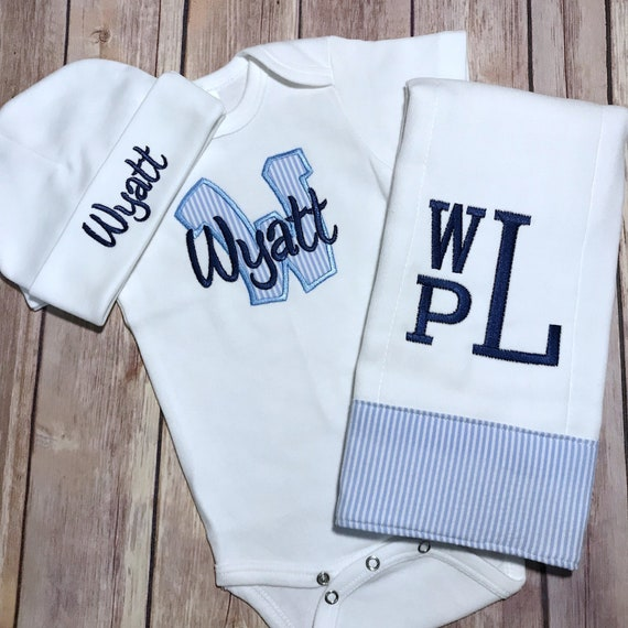 12df512e1140 Baby Boy COMING HOME Outfit Take Home Outfit Monogram Newborn