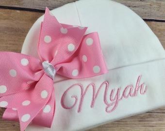 Personalized Baby Hat BUBBLEGUM DOT Baby Beanie Hat Monogram Baby Hat Baby Shower Gift Personalized Infant Hat Newborn Baby Newborn Hat