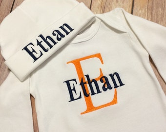 Personalized Take Home Outfit, Monogram Baby Gown Hat, Newborn Boy Outfit, Baby Boy Outfit, Personalized Infant Baby Boy Outfit