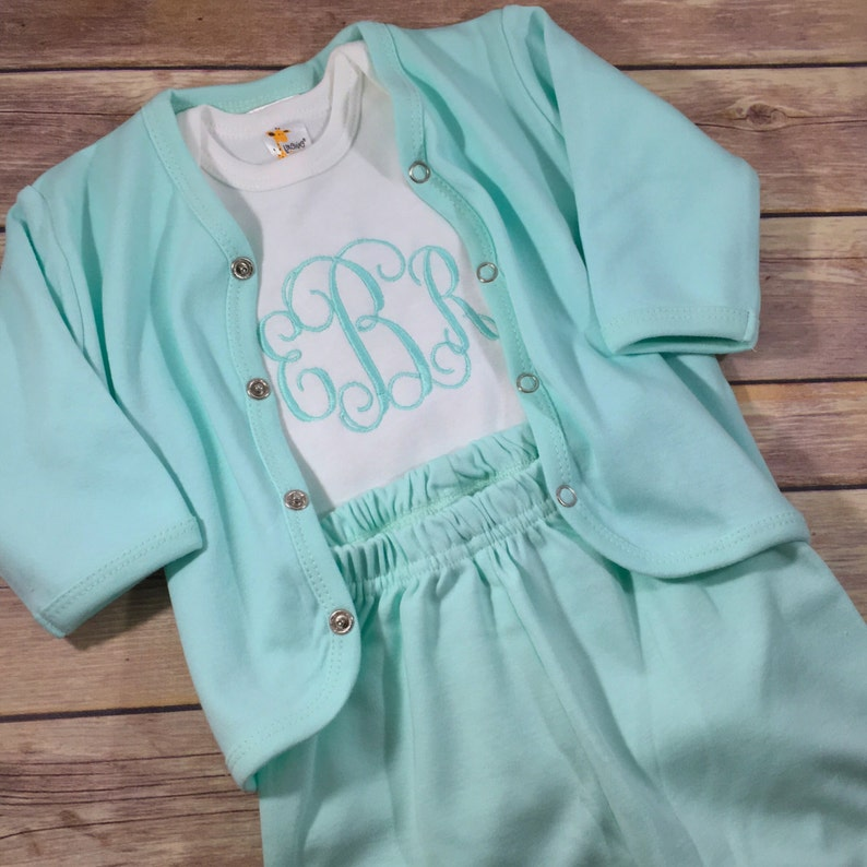Baby Monogram Clothes Baby Girl Coming Home Outfit Girl Newborn Photo Prop Baby Shower Gift Personalized Baby Gift Newborn Girl