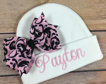 Personalized Baby Hat PINK BLACK DAMASK Baby Beanie Hat Monogram Baby Hat Baby Shower Gift Personalized Infant Hat Newborn Photo Newborn Hat