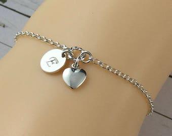 Sterling Silver Initial Bracelet-Personalised Charm Bracelet-Hand Stamped Initial-Monogram Bracelet-Bridesmaids Bracelet-Bridal Jewellery