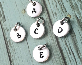 Add On A Hand Stamped Initial Charm, Or To Purchase Separately, Monogram, Silver Initial Charm, Initial Jewelry, Initial Disc Heart Initial