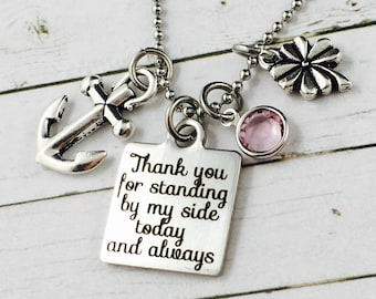 Thank You Gift-Personalised Charm Necklace-Swarovski Crystal Birthstone Charm-Maid Of Honour Gift-Sister Of The Bride Gift-Best friend Gift