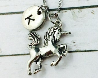 Unicorn Necklace, Personalised Necklace, Silver 3D Unicorn Charm With Hand Stamped Initial Charm, Unicorn Pendant, Unicorn Jewelry