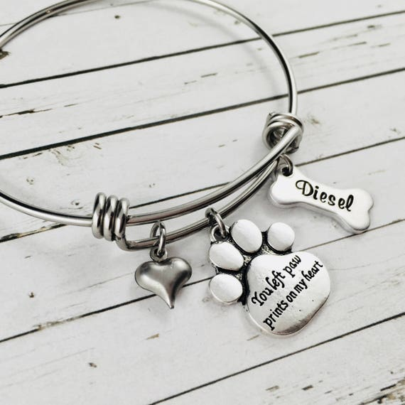 personalized hand stamped cuff bracelet, memorial pet jewelry You left paw prints on my heart vintage silver plate silverware cuff