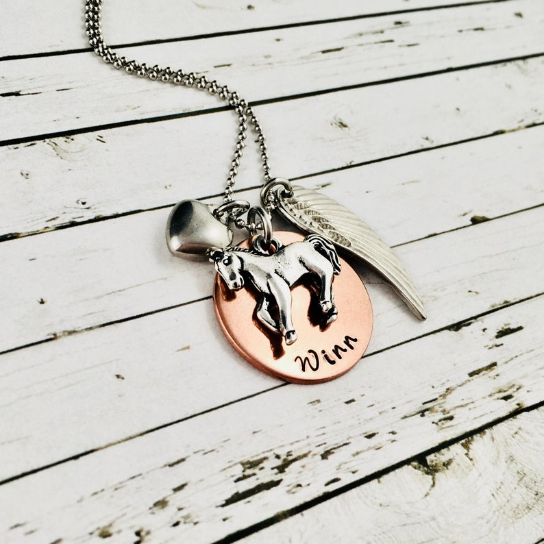 Horse Memorial Necklace Horse Necklace Personalised 3D Horse Charm Necklace Pet Loss Jewelry Horse Lover Jewelry Hand Stamped Name