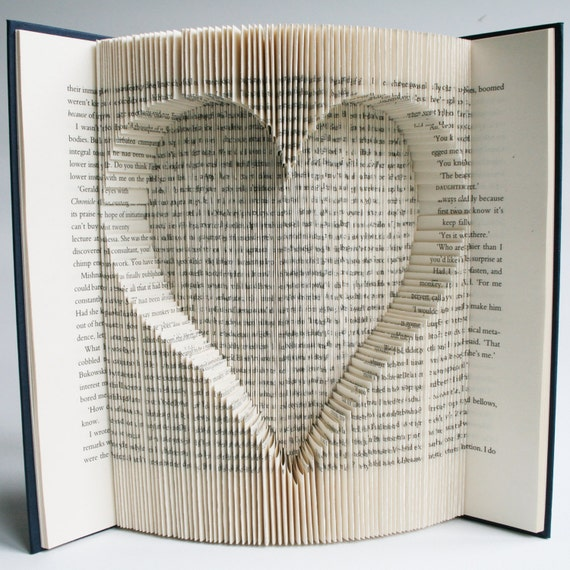 Book Folding Pattern Heart Cut And Fold With Free Printable Etsy Stunning Book Folding Patterns Free Download